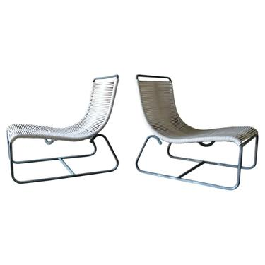 Pair of Vintage Walter Lamb Bronze Sled Chairs, ca. 1950