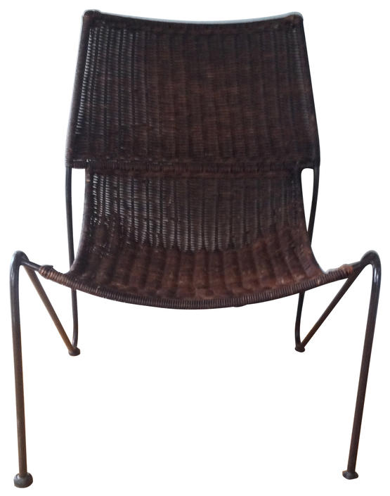 Mid-Century Modern Cane And Iron Sling Scoop Chair