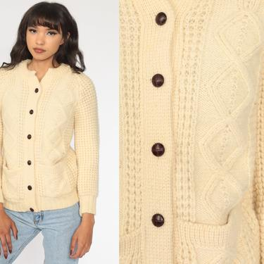 Fisherman Sweater WOOL Cardigan Cable Knit Irish 70s Boho Cream Bohemian Chunky Vintage 80s Button Up Cableknit Extra Small xs by ShopExile
