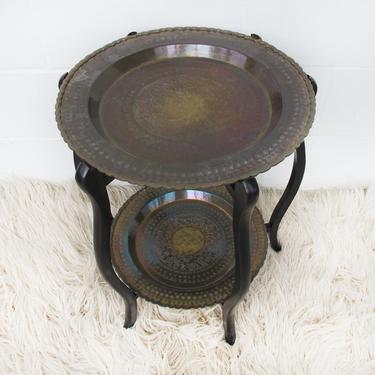 Stunning Vintage Mid-Century Two-Tiered Round Brass Coffee Table with Folding Wood Legs by PortlandRevibe