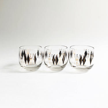 Vintage Federal Glass Harlequin Roly Poly Cocktail Glasses by SabineVintageHome