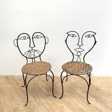 Sculptural Chairs Face Wrought Iron Wicker Cane John Risley Art Furniture Man Woman by 330Modern