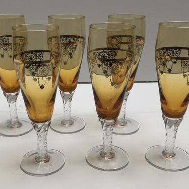 Gold Patterned Champagne Flutes