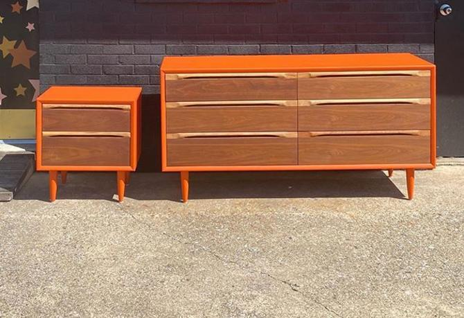 MCM clementine dresser and nightstand with two tone drawer fronts.