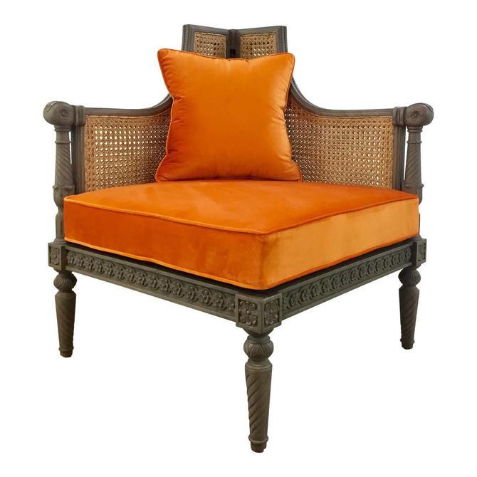 French Style Cane Back Orange Velvet Corner Chair