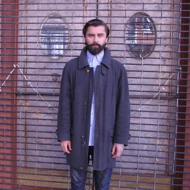 BURBERRY Gray Wool Coat | Mens Quarter Length Coat | Medium Size | Vintage 90s | by HamletsVintage