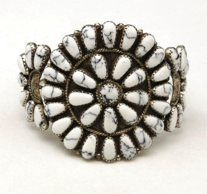 Vintage White Buffalo Turquoise Petit Point Cluster Cuff Bracelet Sterling Silver by HouseofVintageOnline