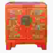 Chinese Oriental Distressed Orange Red Flower End Table Nightstand cs4552S
