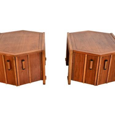Lane Walnut Hexagon Side Table Mid Century Modern by HearthsideHome