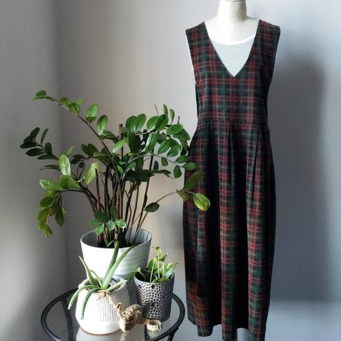 Vintage Plaid Corduroy Jumper Midi Dress  90s Karen Scott Plaid Dress  Preppy Plaid Grunge Dress by LoveOnceAgain