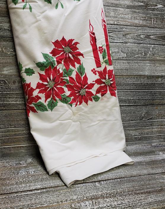 Vintage Christmas Tablecloth, Christmas Candelabra, Holiday Poinsettia Tablecloth, Mid Century Table Linen, Vintage Christmas Decoration by AGoGoVintage