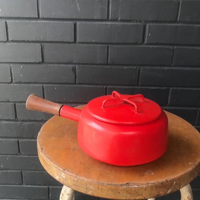 Quistgaard Enamelware Red Pot Cast Iron Teak Handle Vintage Mid-Century Modern Chef Kitchen Retro Dansk Designs Scandianvian Mad Men by BrainWashington