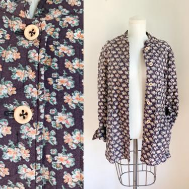 Vintage 1970s Plum Floral Quilted Jacket / M by MsTips