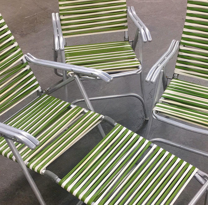 Vintage Aluminum Lawn Set Retro 1960s Mid Century Modern + Green + White + Vinyl Straps + Silver Metal Frames + 3 Piece + Patio Furniture by RetrospectVintage215