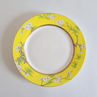 Vintage Yellow Porcelain Dinner Plates, Set of 5 Asianera Plum Blossom Plates by CivilizedCrow