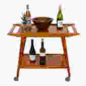 Exotic Wood 2-Tier Rolling Bar Cart w / Removable Serving Shelf / Tray