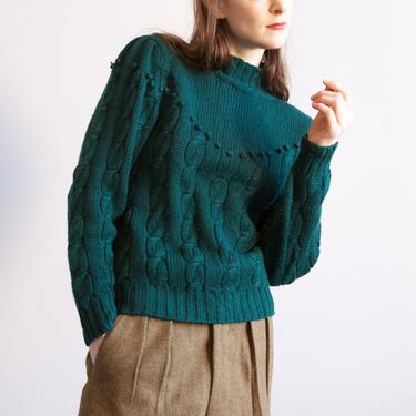 forest green mock neck cable pom poms sweater / sz M by EELT