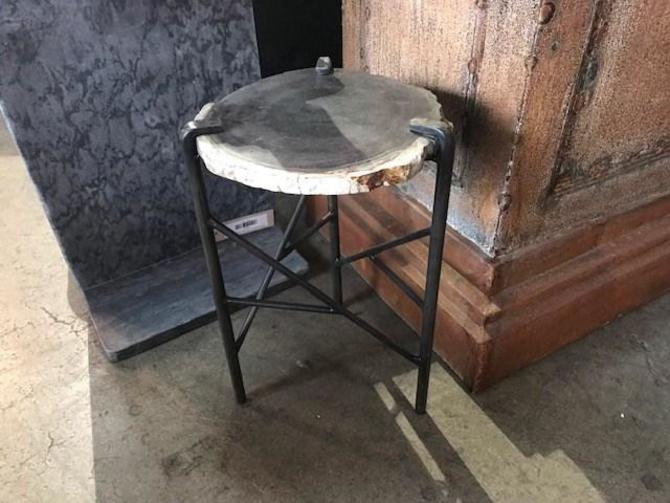 "CUSTOM AGATE SIDE TABLE 12"" X 11.5"" X 17.5"" H"