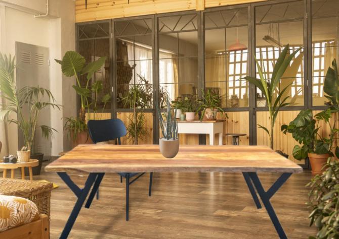 Live Edge Teak Dining Table - Boho Teak Desk by UmbuzoRustic