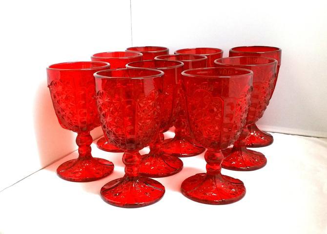 10 Ruby Red L.G. Wright Goblet Glasses by ModernPicks