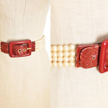 vintage 80s Galanos belt red croc leather buckle pearls jewelry accessory S by huncamuncavintage