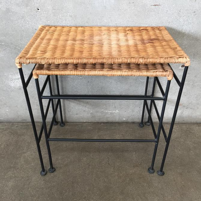 Arthur Umanoff Style Mid Century Wicker & Iron End Tables