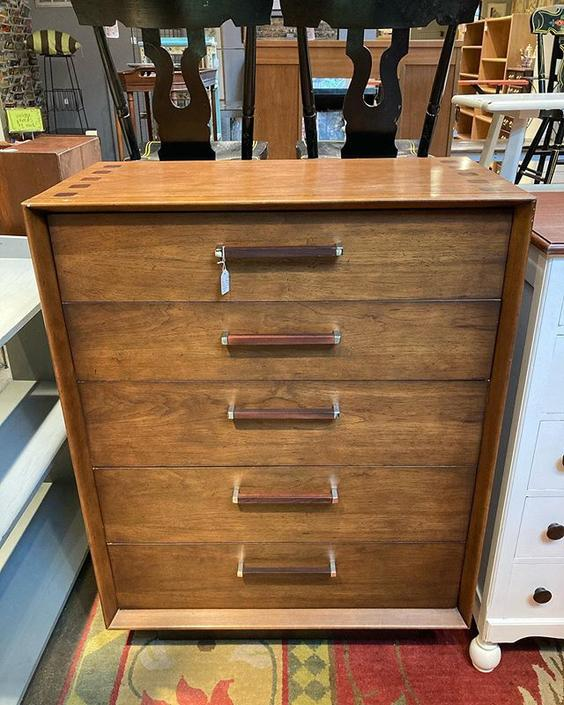 "Beautiful mid century 5 drawer chest. 36"" wide 19"" deep 48"" tall."