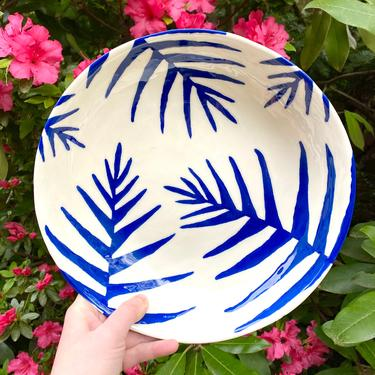 Licorice Fern Serving Bowl - Cobalt Blue and White Handmade and Hand-Painted Ceramic Bowl with Botanical Pattern - 10-Inch Diameter by BirdstoneCeramics