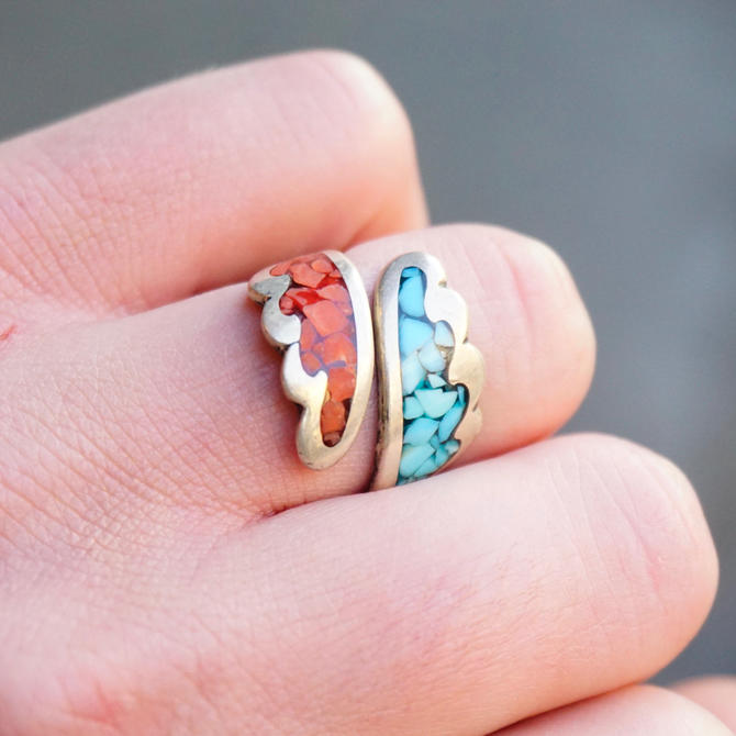 Vintage Turquoise & Coral Mosaic Ring, Silver Wrap Ring With Inlaid Turquoise And Coral, Adjustable Silver Ring, Native American Jewelry by shopGoodsVintage