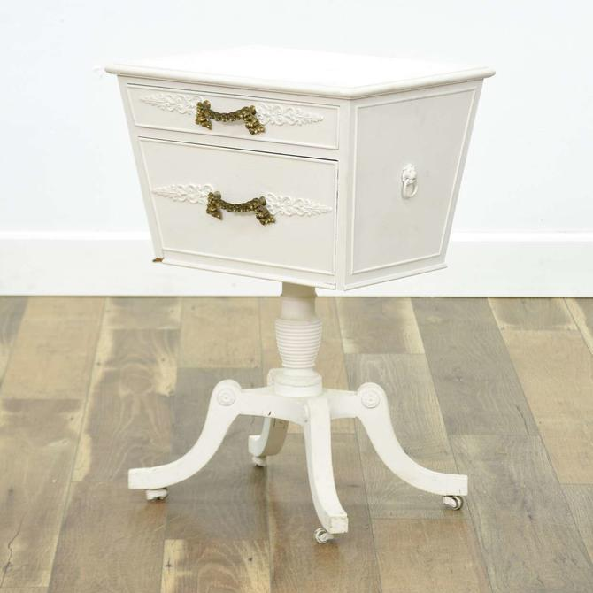 White French Empire Nightstand W Casters