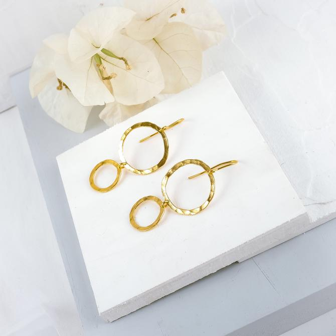 Hammered Delicate Dangling Gold Earring, Hoop Earring, Hammered Earring, Dangle Earring, Dangle Earring, Gold Earring, Dangle Circle Earring by OrlySegal