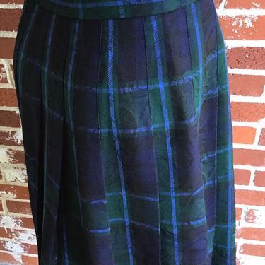 Vintage 70s PENDLETON Tartan Plaid Pleat Wool Skirt USA medium by FlashbackATX