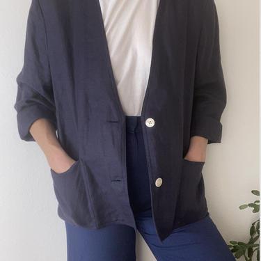 vintage slate blue linen chore coat by miragevintageseattle