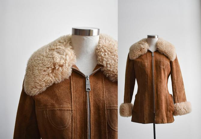 1960s Suede Coat with Shearling Cuffs & Collar by milkandice