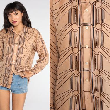 Hippie Shirt 70s Psychedelic Print Shirt Tan Boho Disco Top 1970s Vintage Bohemian Button Up Long Sleeve Geometric Medium Large by ShopExile