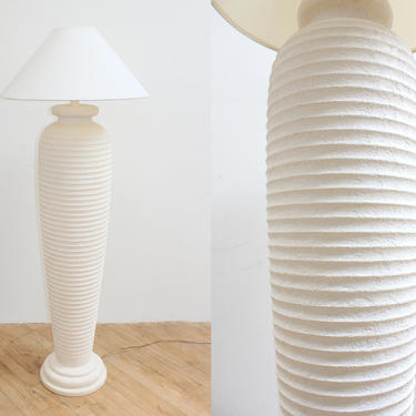 80s Ribbed Floor Lamp Plaster Architectural Beehive Lamp Michael Taylor California Look by 330Modern
