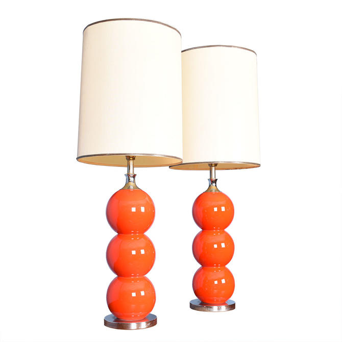 Pair of Burnt Orange Stacked-Ball Table Lamps