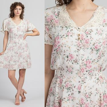 90s Boho White Floral Fitted Waist Mini Dress - Medium to Large | Vintage Lace Collar Short Flutter Sleeve Grunge Dress by FlyingAppleVintage