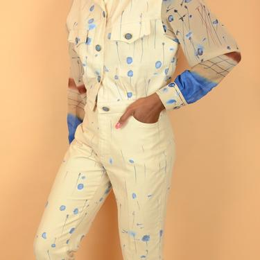 Vintage Cache Abstract Multi Print Yellow Cream Blue Denim Jean Pant Set / Two Piece Set by MAWSUPPLY
