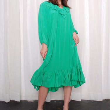 Vintage Precious Emerald Silk Ruffle Dress (OSFM) by 40KorLess