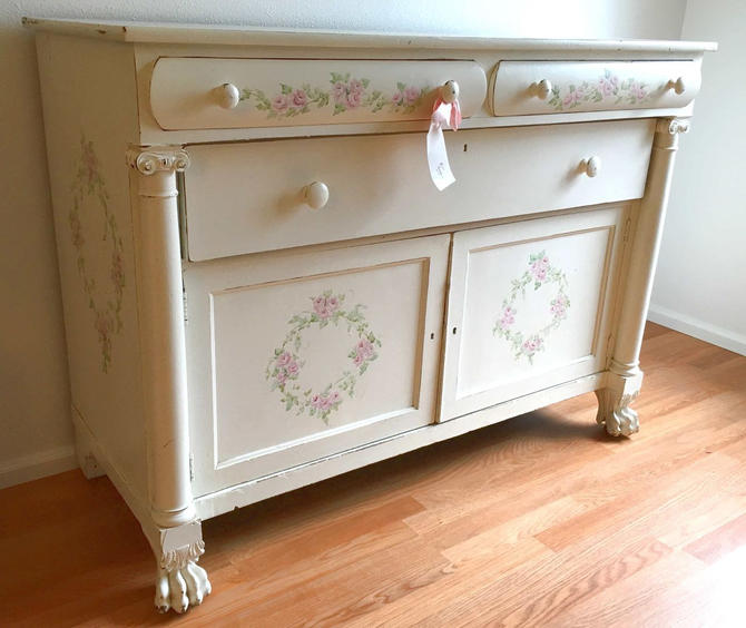 White Hand Painted Claw Foot Buffet W Vintage Roses Jo Anne Coletti Shabby Chic Pink Green Floral Dresser Victorian French Country Wood By Akaata
