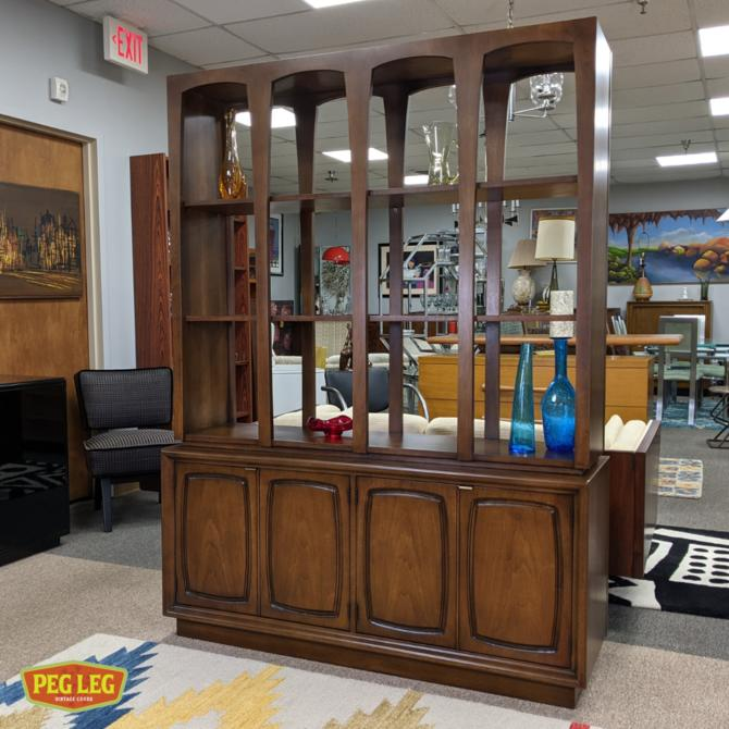 Mid-Century Modern walnut room divider from the 'Emphasis' collection by Broyhill