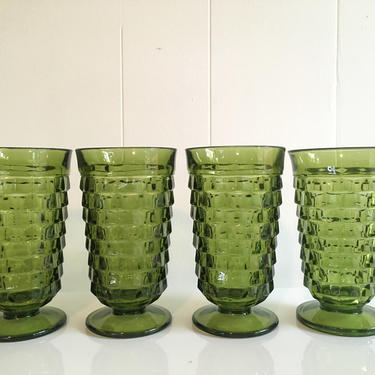 Vintage Iced Tea Glasses Set of Four (4) Indiana Glass Whitehall Pattern Olive Green Highball Glasses 1960s One Base Chipped by CheckEngineVintage