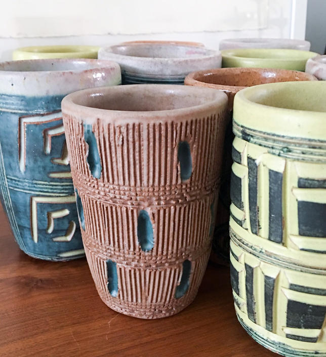 1940s Puerto Rico Large Group of Hal Lasky Puerto Rican Pottery Corp Tumblers Handmade Tiki Mugs Bar Collectible Sgraffito by CaribeCasualShop