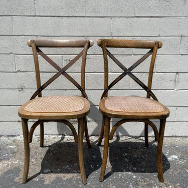 Pair of Chairs Rustic Thonet Inspired Rush Seat Vintage Steel Wicker Rattan Mid Century Modern Seat Wood Chair Seating Desk Midcentury Retro by DejaVuDecors