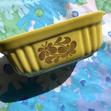 Vintage Mini Casserole 16oz Dish by Pfaltsgraff FTDA 1983, Yellow Ceramic with Golden Floral Swirls by AMORVINTAGESHOP