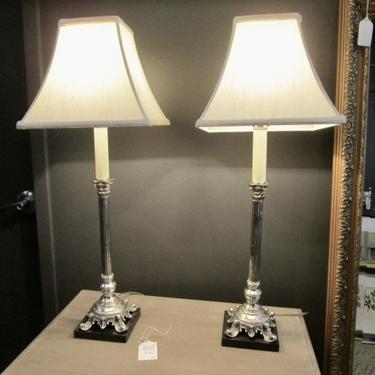 PAIR OF ANTIQUE SILVER PLATED CORINTHIAN COLUMN CANDLE LAMPS/BUFFET LAMPS ON MARBLE BASE