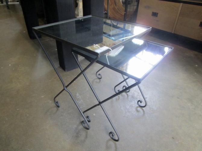 BALLARD DESIGN NESTING TABLES WITH MIRRORED TOPS