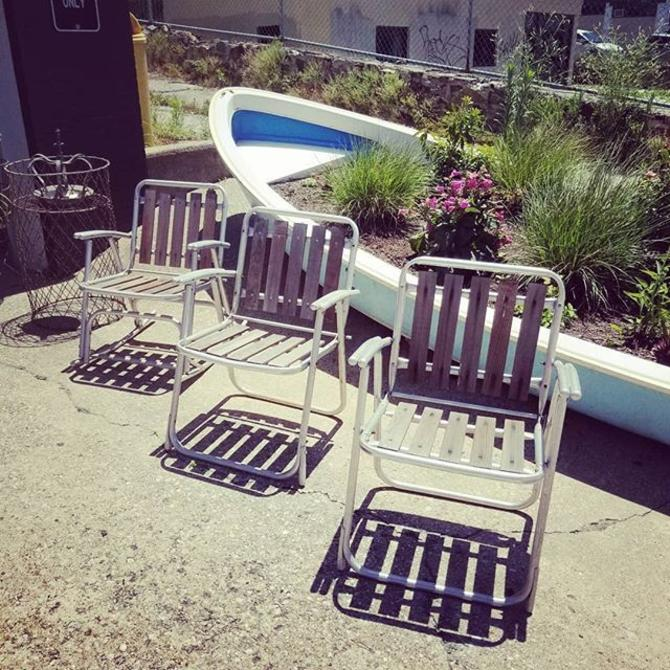Mid Century Wood and Aluminum patio set (two chairs one rocker) $175