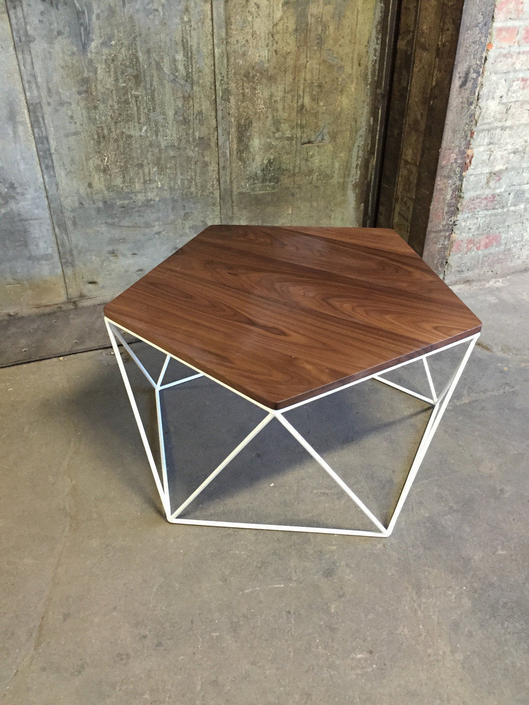 Modern Coffee Table With Solid Wood Top and Welded Steel Icosahedron Segmented Base by PWHFurniture